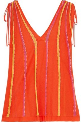 M Missoni Tie-detailed Striped Crochet-knit Cotton-blend Top