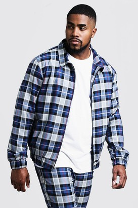 boohoo Mens Blue Big & Tall Tartan Check Smart Coach Jacket, Blue