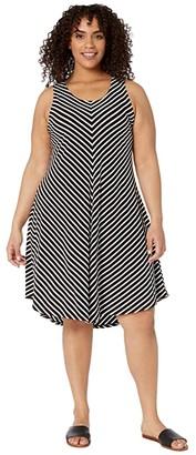 Karen Kane Plus Plus Size Sleeveless High-Low Dress (Stripe) Women's Clothing