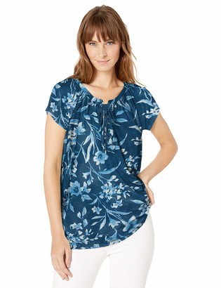 Chaps Women's Short Sleeve Lace up Top