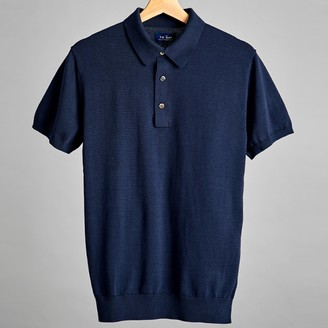 The Tie Bar Navy Solid Cotton Sweater Polo
