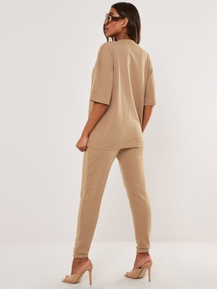 Missguided Oversized T-Shirt Jogger Set - Beige