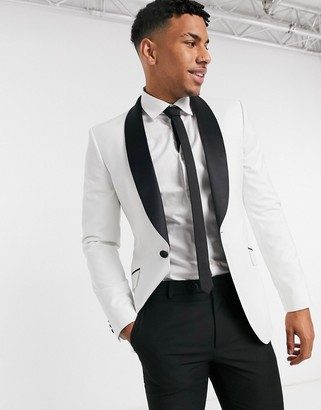 ASOS DESIGN super skinny tuxedo suit jacket in white with black lapel