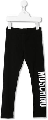 MOSCHINO BAMBINO Two Tone Logo Print Leggings