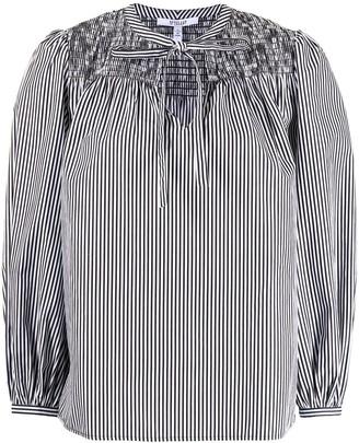 Derek Lam 10 Crosby Shirred-Panel Striped Blouse