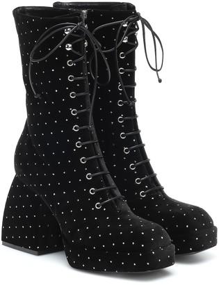 Nodaleto Bulla lace-up velvet ankle boots