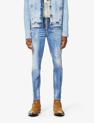 DSQUARED2 Ripped faded-wash skinny denim jeans