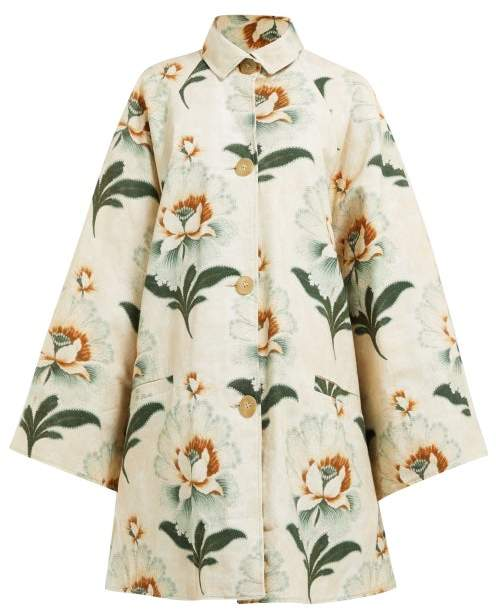 By Walid Floral Print Cotton Coat - Womens - Green Print