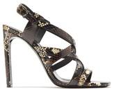 Saint Laurent Bea Cross-strap Ayers-snake Sandals - Womens - Brown Multi