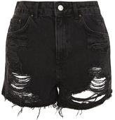 Petite longline ripped mom denim shorts