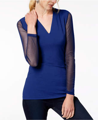 INC International Concepts Inc Illusion-Sleeve V-Neck Blouse