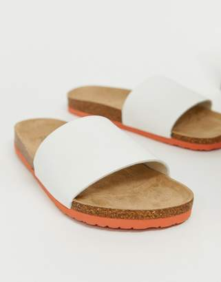 Brave Soul faux leather sliders in white