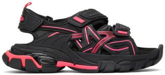 Balenciaga Black and Pink Track Sandals