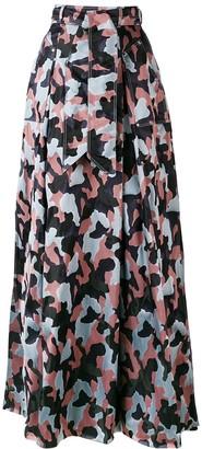 Talbot Runhof long belted skirt