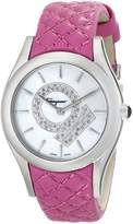 Salvatore Ferragamo Women's FG4010014 LIRICA Diamond-Accented Stainless Steel Watch with Pink Leather Band
