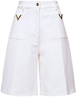 Valentino Cotton Denim Bermuda Shorts