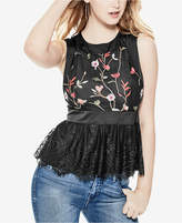 GUESS Cynthia Embroidered Peplum Top