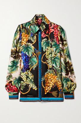 Dolce & Gabbana Printed Silk-twill Shirt - Black