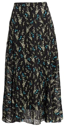 Erdem Shea Willow Ditsy Silk Voile Midi Skirt