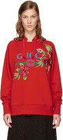 Gucci Red Oversized Floral Logo Hoodie