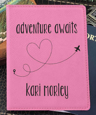 Stamp Out Online Passport Holders pink - Pink 'Adventure Awaits' Personalized Passport Cover