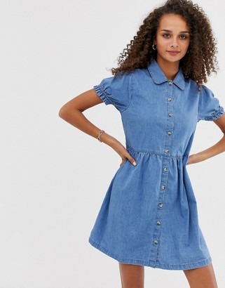 Asos Design DESIGN denim mini shirt dress with collar in blue