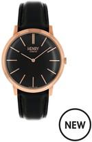 Henry London Henry London Rose Gold Iconic Gents Black Strap Watch