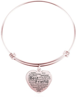 Heart Charm Bangle by Pink Box Best Friend Rose Gold