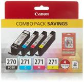 """Canon PIXMA Black and Color Ink Cartridges with 4"""" x 6"""" Photo Paper"""