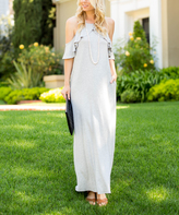 Sweet Pea Heather Gray Cold Shoulder Maxi Dress