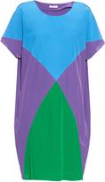 Tomas Maier Colour-block short-sleeved silk dress