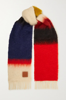 Loewe Leather-trimmed Fringed Color-block Mohair-blend Scarf - Red