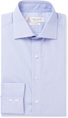 Turnbull & Asser Blue Cutaway-Collar Striped Cotton Shirt