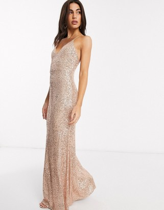 Goddiva sequin strappy maxi dress in rose gold