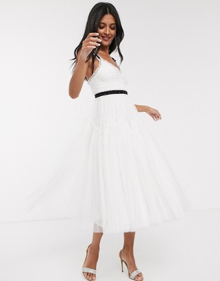 Needle & Thread Bridal bow detail midi dress with contrast waistband in ivory-White