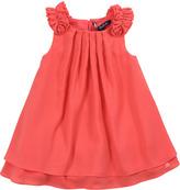 Lili Gaufrette Lias Pleated Crepe Dress, Papaye, 8Y-10Y