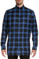 Givenchy Columbian-Fit Plaid Long-Sleeve Shirt, Blue