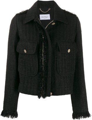 Salvatore Ferragamo Boucle Tweed Zip-Front Jacket