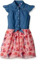 GUESS Little Girls' Ss Denim and Floral Chiffon Dress