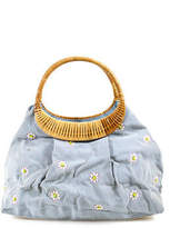 Lambertson Truex Blue White Striped Embroidered Pleated Satchel