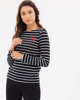 Warehouse Embroidered Cherry Stripe Long Sleeve Top