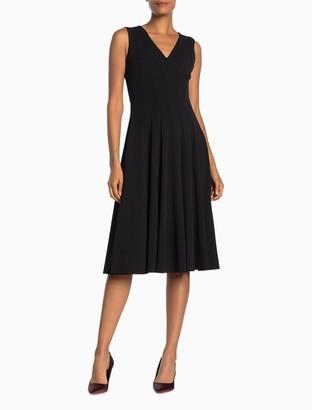 Calvin Klein Solid V-Neck Fit + Flare Dress