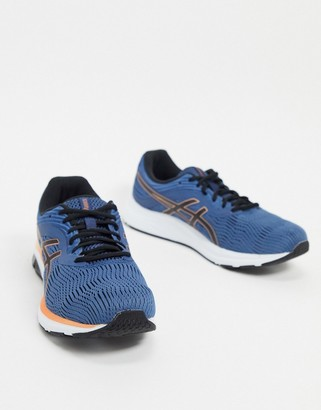 Asics Running gel pulse 11 trainers in blue and orange