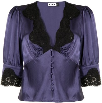 Rixo lace-detail V-neck shirt