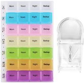 28 Compartment Pill Organizers, PEMOTech 7 Day (Four Times Per Day) Daily Reminder Pill Organizer Box with Snap Lid, Multi-Color, Detachable Compartments for Pills, Vitamins