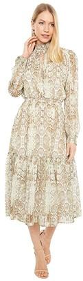 WAYF Alston Tiered Smocked Waist Midi Dress (Sand Snake) Women's Dress