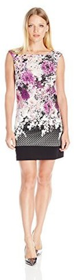 Adrianna Papell Women's Petite Floral and Geo Printed Shift with Cutout Back
