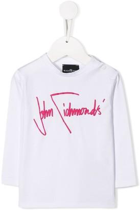 John Richmond Junior fuchsia pink logo embroidered top