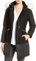 1 Madison Women's Faux Fur Trim Mixed Media Drop Waist Coat