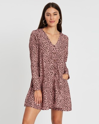 Missguided Button-Through Long Sleeve Smock Dress